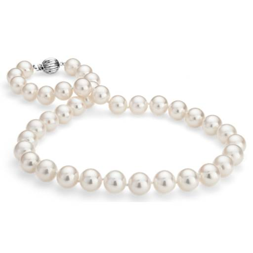 Collier en perles de culture d'eau douce triple rang en or blanc 14 carats (10,5-11,5 mm)