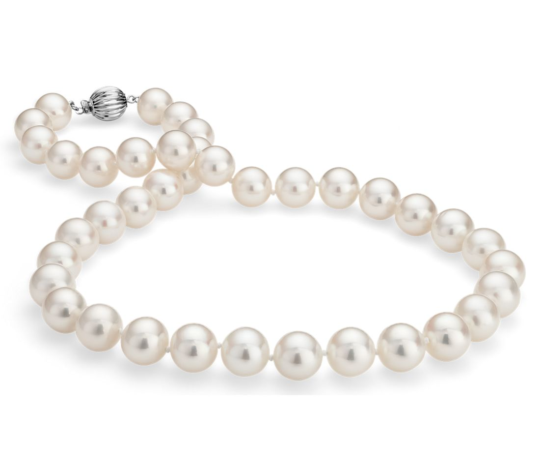 Freshwater Cultured Pearl Strand Necklace in 14k White Gold (10.5-11.3mm)