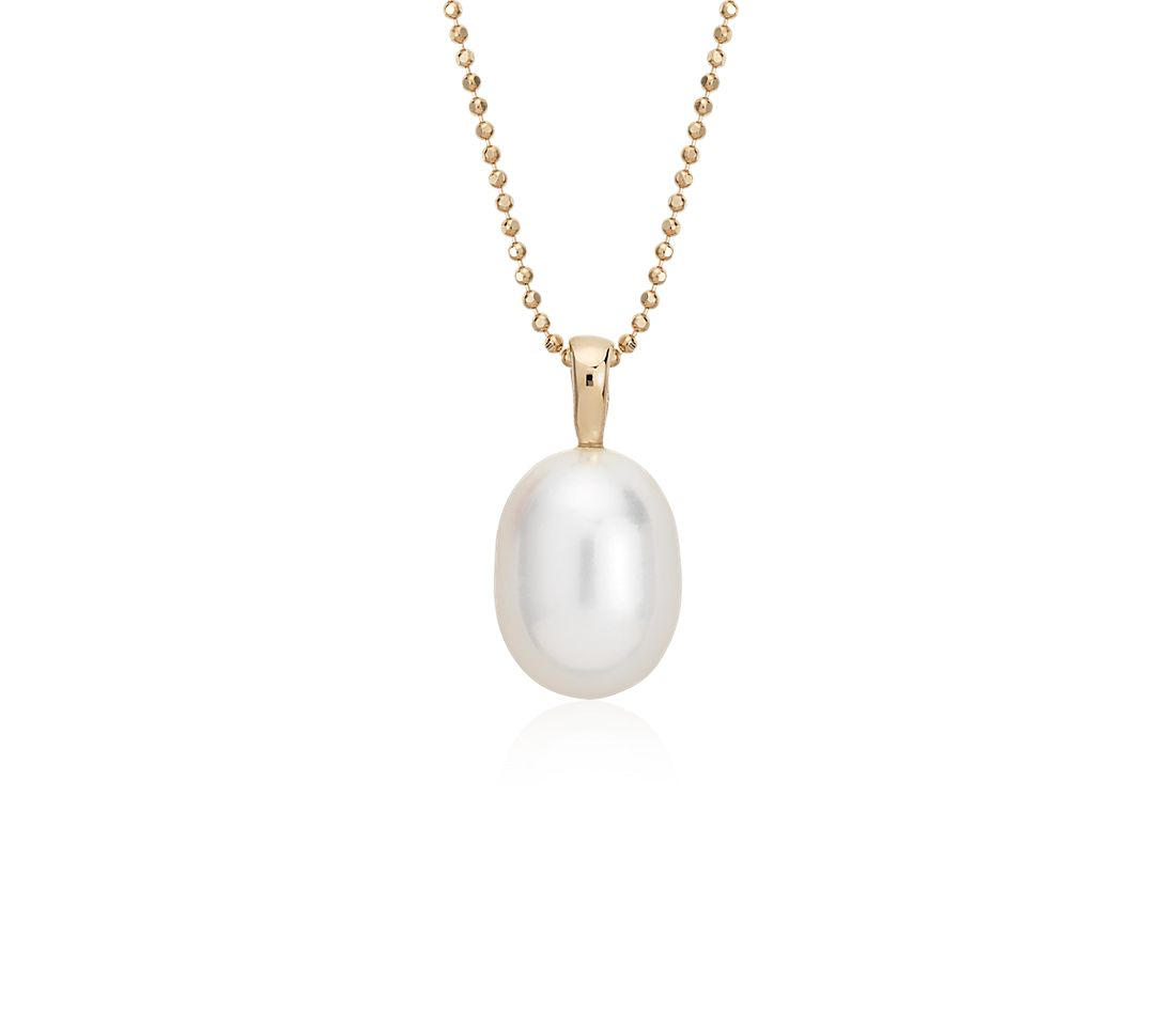 Freshwater Cultured Pearl Pendant in 14k Yellow Gold