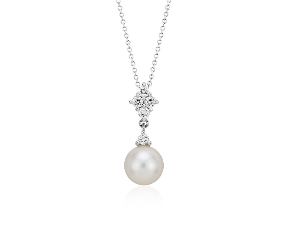 Freshwater Cultured Pearl and Quad Diamond Pendant in 14k White Gold (9mm)