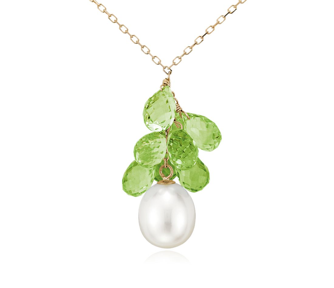 Freshwater Cultured Pearl and Peridot Briolette Necklace in 14k Yellow Gold