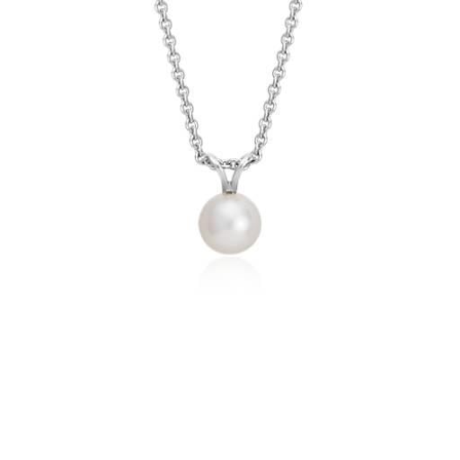 Colgante de perlas cultivadas de agua dulce con plata de ley (7,0-7,5 mm)