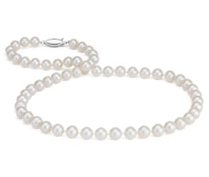 Freshwater Cultured Pearl Strand Necklace in 14k Yellow Gold (7.5-8.0mm)