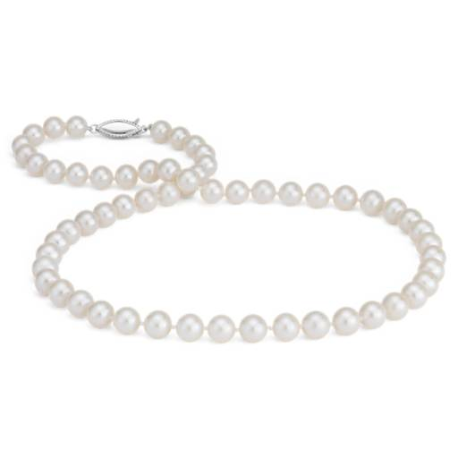 Freshwater Cultured Pearl Strand Necklace in 14k White Gold (7.5-8.0mm)