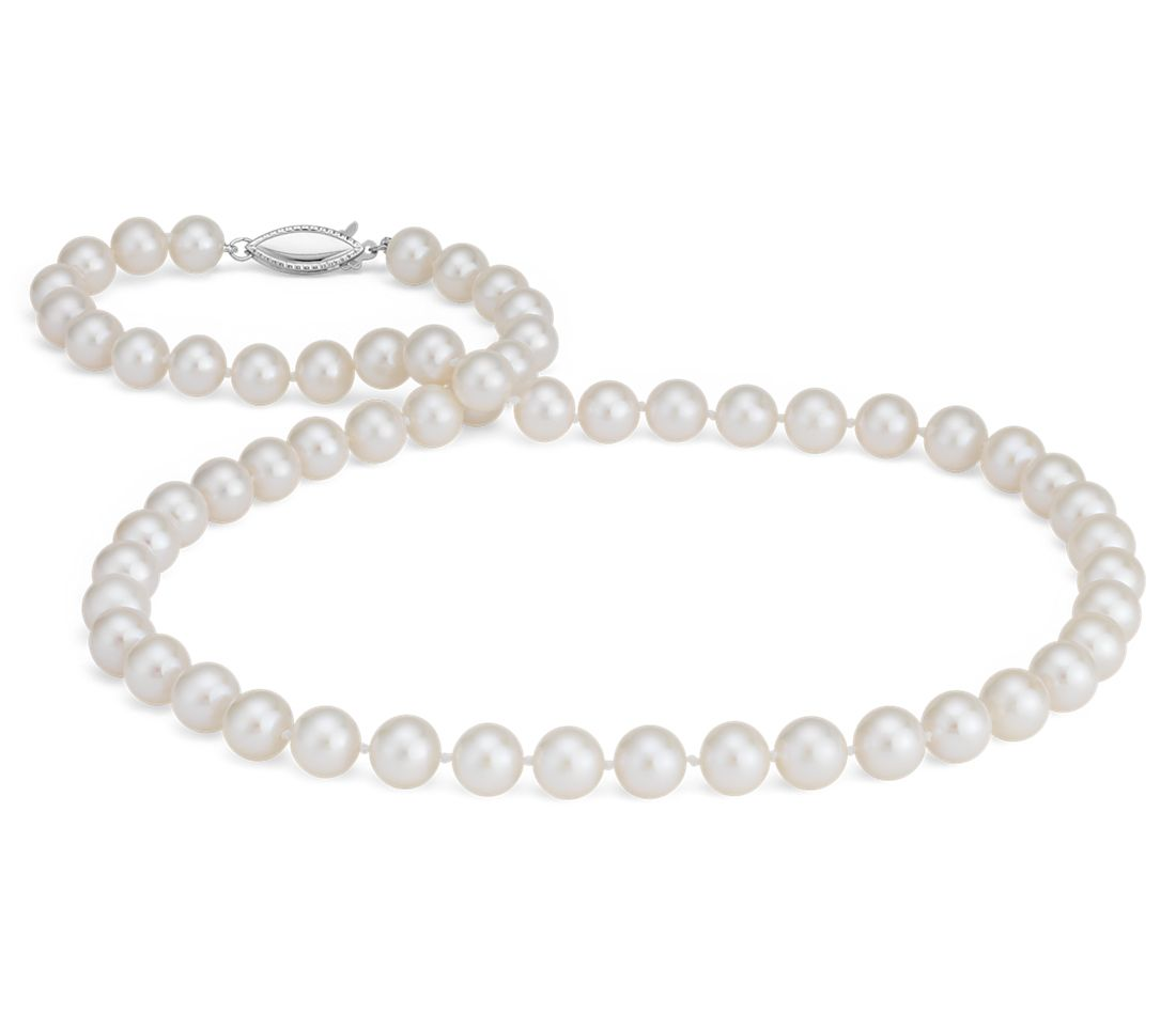 Collier en perles de culture d'eau douce triple rang en or blanc 14 carats (7,5-8,0 mm)