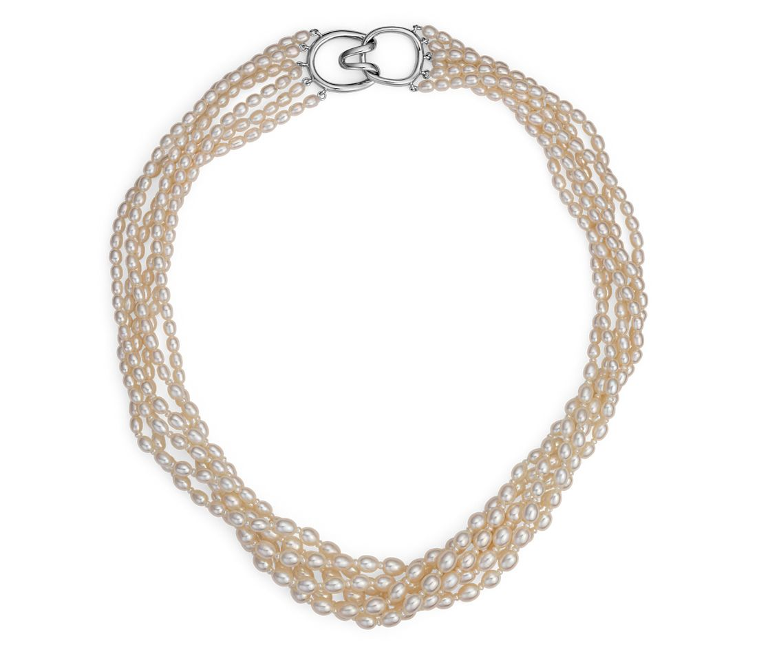 Freshwater Cultured Pearl Toursade Necklace with Sterling Silver