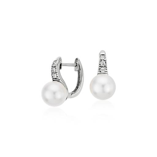 Freshwater Cultured Pearl and Diamond Drop Earrings in 14k White Gold