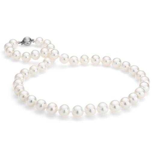 Freshwater Cultured Pearl Strand Necklace in 14k White Gold (9.5-10.5)