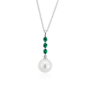 NEW Freshwater Cultured Pearl and Emerald Drop Pendant in 14k White Gold (8mm)
