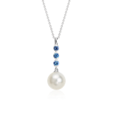 Freshwater Cultured Pearl and Sapphire Drop Pendant in 14k White Gold (8mm)
