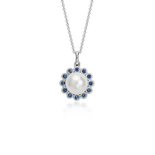 Freshwater Cultured Pearl and Sapphire Pendant in 14k White Gold Filigree (7mm)