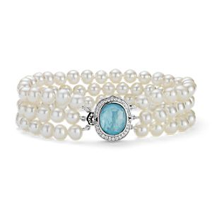 Triple-Strand Baroque Freshwater Cultured Pearl and Mother of Pearl Bracelet in Sterling Silver (5mm)
