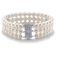 Bracelet collier de perles de culture d'eau douce avec Or blanc 14 ct