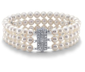 Freshwater Cultured Pearl Triple Strand Bracelet with 14k White Gold (6.0-6.5mm)