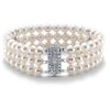 Freshwater Cultured Pearl Triple Strand Bracelet with 14k White Gold