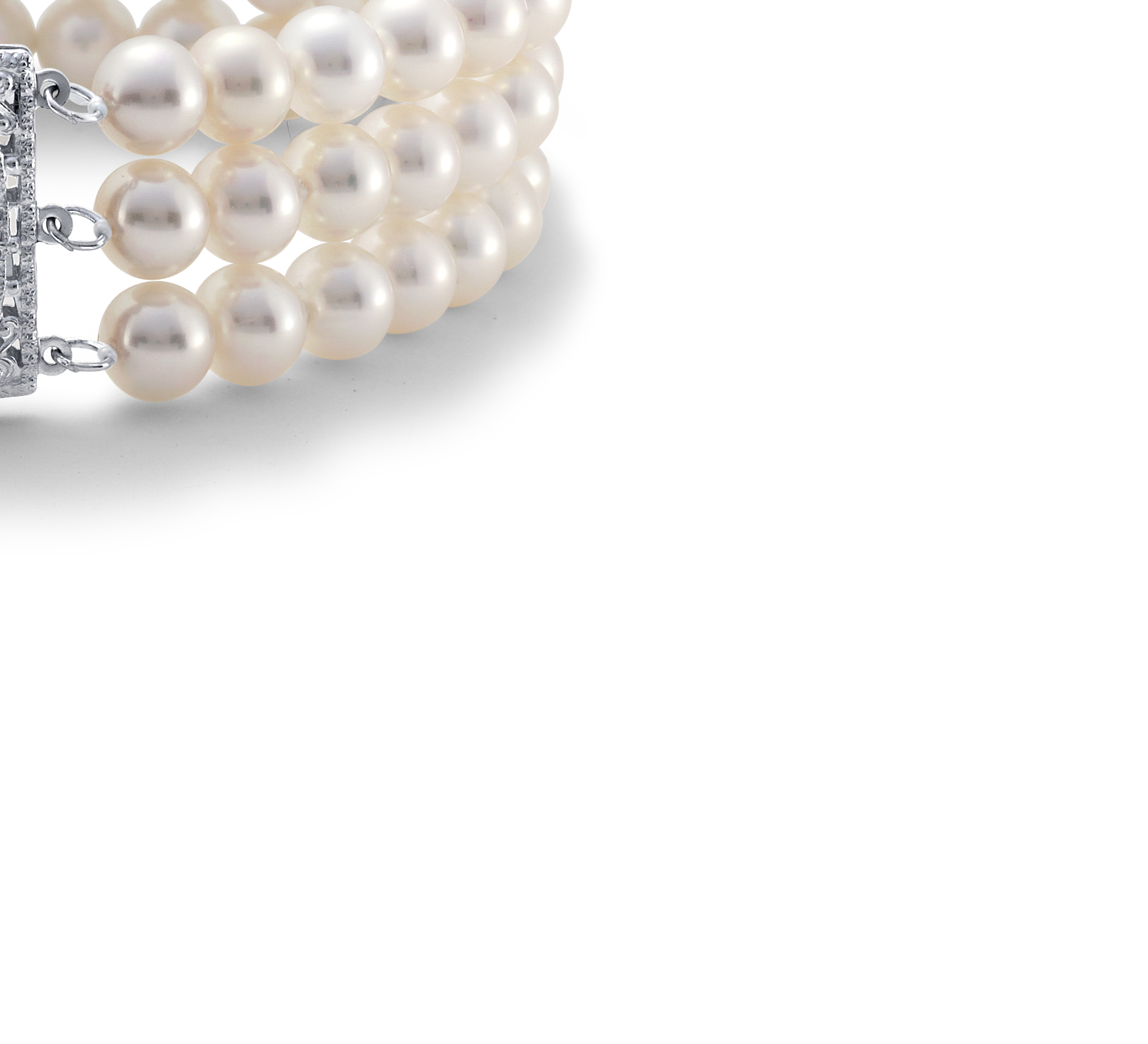 Triple-Strand Freshwater Cultured Pearl Bracelet in 14k White Gold (6.0-6.5mm)