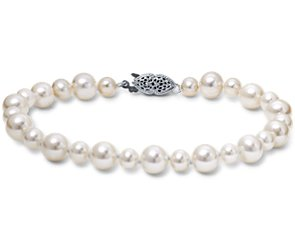 Freshwater Cultured Pearl Garland Bracelet in 14k White Gold