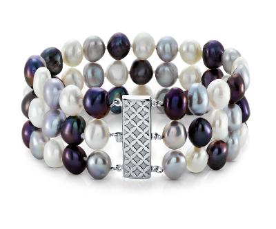 Tuxedo Freshwater Cultured Pearl Triple Strand Bracelet