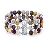 Brazalete de tres vueltas de perlas cultivadas de agua dulce con colores brillantes