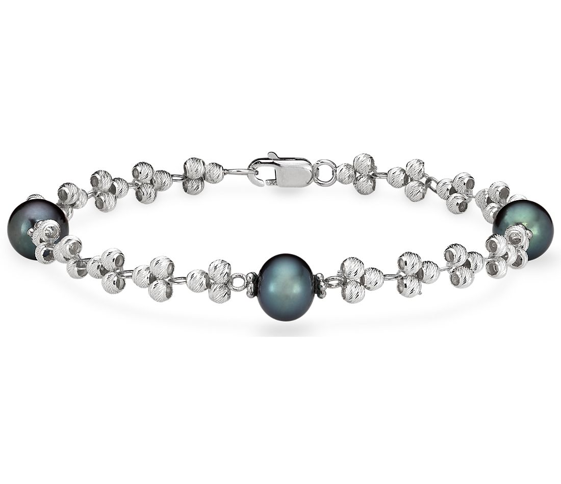 Black Freshwater Cultured Pearl and Sparkle Bead Bracelet in Sterling Silver