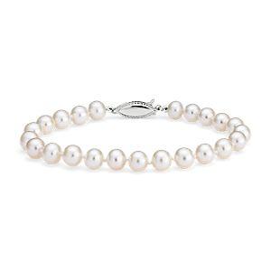 Bracelet de perles de culture d'eau douce en or blanc 14carats (6,0-6,5mm)