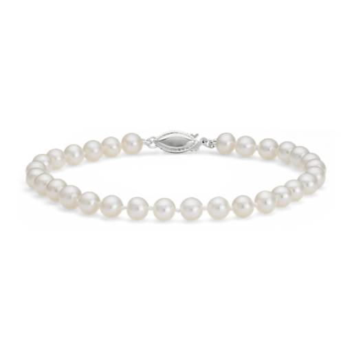 Freshwater Cultured Pearl Bracelet in 14k White Gold (5.0-5.5mm)