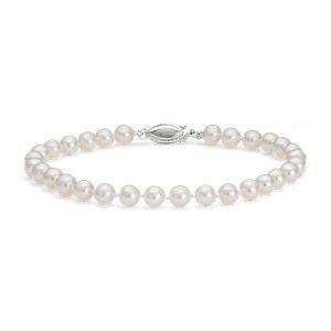 Brazalete de perla cultivada de agua dulce en oro blanco de 14k (5,0-5,5mm)