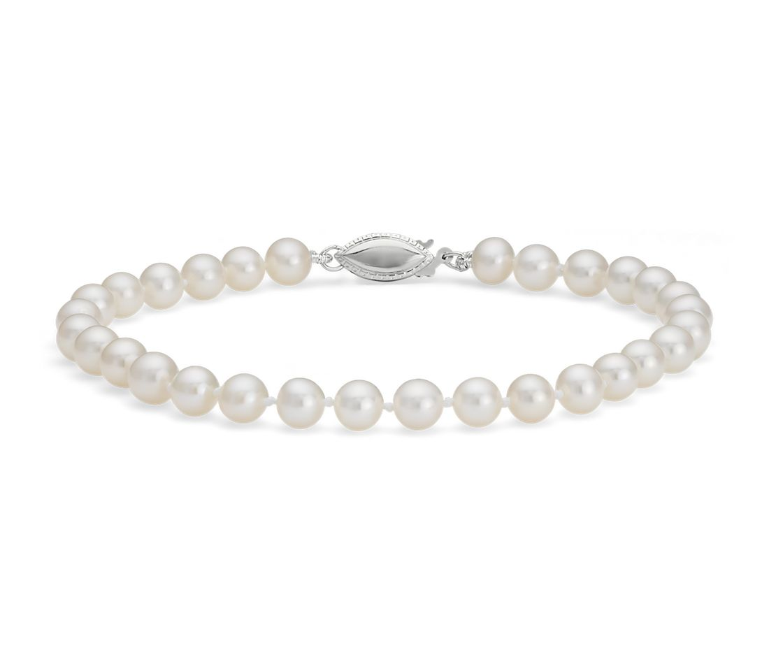 Freshwater Cultured Pearl Bracelet with 14k White Gold (5.0-5.5mm)