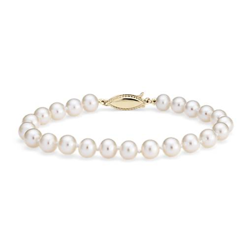 Freshwater Cultured Pearl Bracelet in 14k Yellow Gold (6.0-6.5mm)