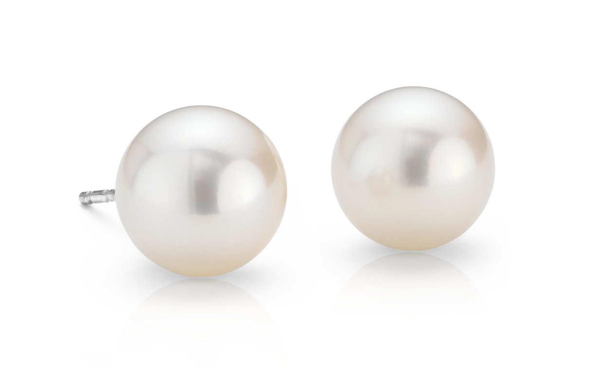 Freshwater Cultured Pearl Stud Earrings in 14k White Gold (8mm)