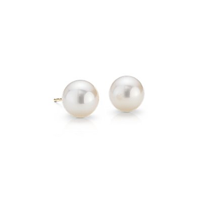 Freshwater Cultured Pearl Stud Earrings in 14k Yellow Gold (8mm)