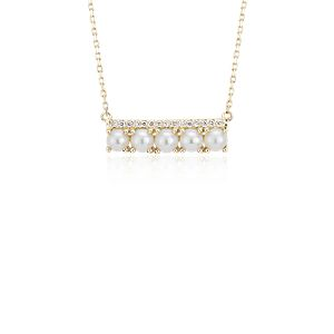 NEW Freshwater Cultured Pearl and Diamond Bar Necklace in 14k Yellow Gold