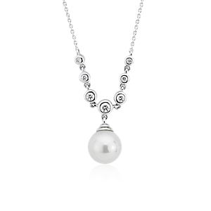 NEW Freshwater Cultured Pearl and Diamond Drop Necklace in 14k White Gold (8-8.5mm)