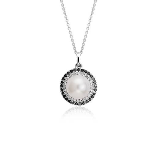 Freshwater Cultured Pearl and Diamond Halo Pendant in 14k White Gold