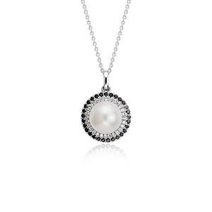 Freshwater Cultured Pearl and Diamond Halo Pendant in 14k White Gold (8mm)