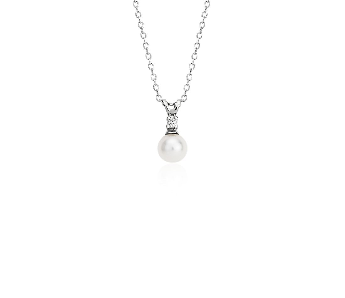 Freshwater Cultured Pearl and Diamond Pendant in 14k White Gold (5-5.5mm)