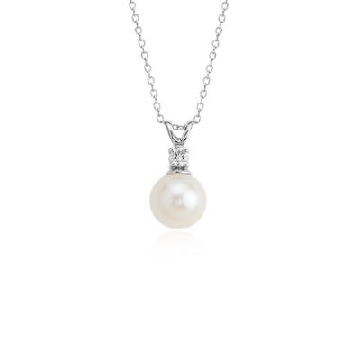 Colgante de diamantes y perlas cultivada de agua dulce en oro blanco de 14k (8,0-8,5 mm)
