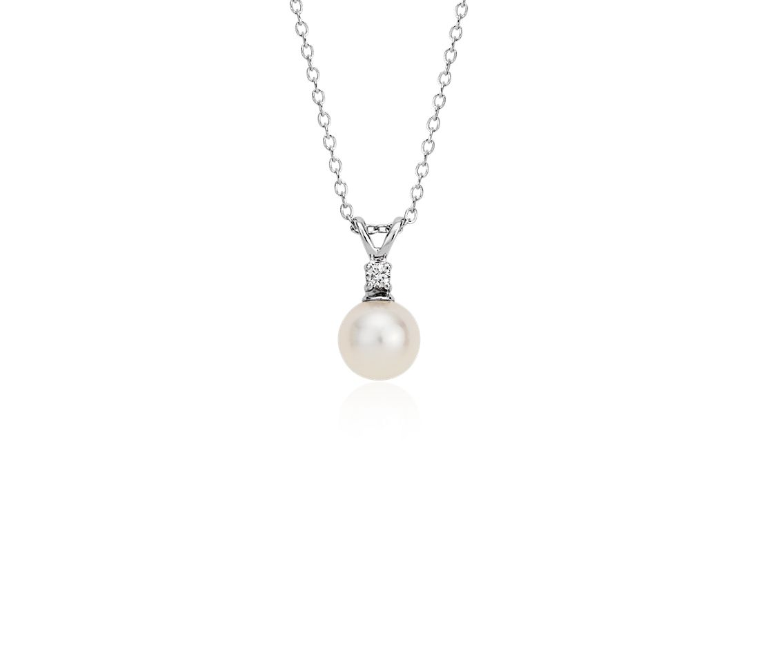 Freshwater Cultured Pearl and Diamond Pendant in 14k White Gold (6-6.5mm)