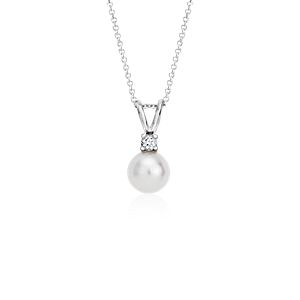 Freshwater Cultured Pearl and Diamond Pendant in 14k White Gold (7.0-7.5mm)