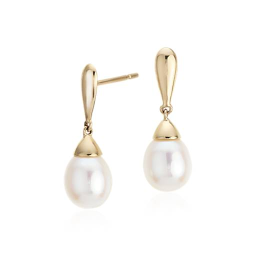 Freshwater Cultured Pearl Teardrop Earrings in 14k Yellow Gold
