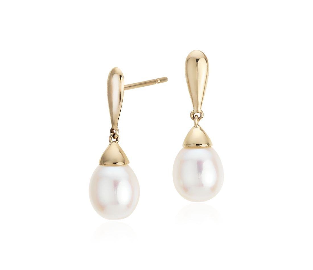 Freshwater Cultured Pearl Teardrop Earrings in 14k Yellow Gold (7.5mm)
