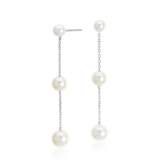 Freshwater Cultured Pearl Triple Drop Earrings in 14k White Gold (4-6.5mm)