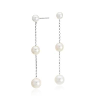 Freshwater Cultured Pearl Triple Drop Earrings in 14k White Gold (4-6.5mm)