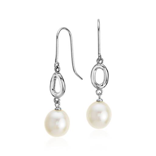 Freshwater Cultured Pearl Infinity Drop Earrings in Sterling Silver