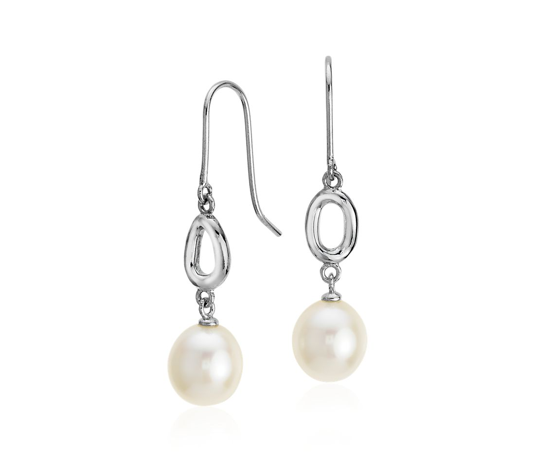 Freshwater Cultured Pearl Infinity Drop Earrings in Sterling Silver (8.5mm)