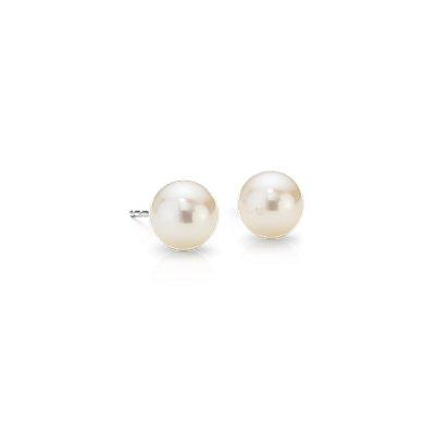 Aretes de perlas cultivadas de agua dulce en oro blanco de 14k (7mm)