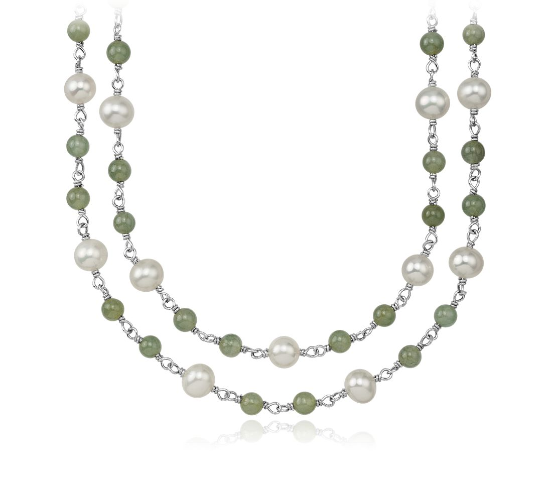 Freshwater Cultured Pearl and Jade Necklace in Sterling Silver - 52'' Long