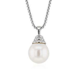 NEW Perla cultivada de agua dulce Long Drop Pendant in plata de ley (13-14 mm)