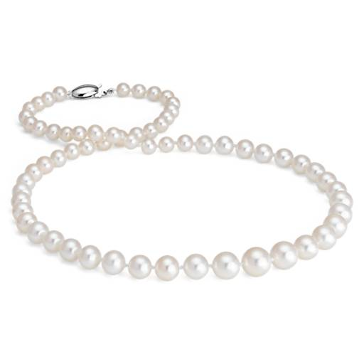 Freshwater Cultured Pearl Graduated Necklace with 14k White Gold