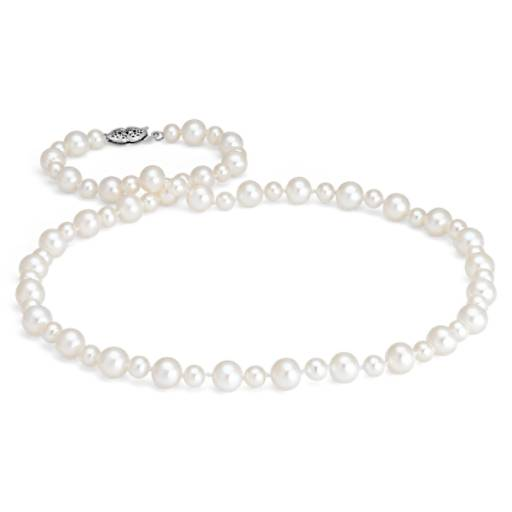Freshwater Cultured Pearl Garland Necklace in 14k White Gold (5-7mm)